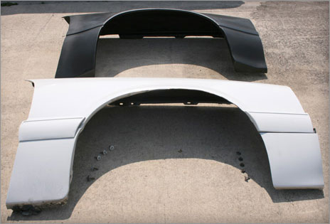 Maier Racing flared fenders for the fox bodied Mustang - size comparison 2