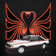 1980 mustang cobra, polar white, with hood decal design